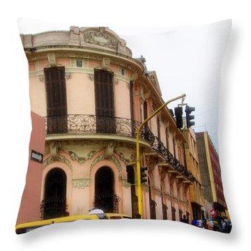 Peruvian Streets Throw Pillow by Karen Wiles