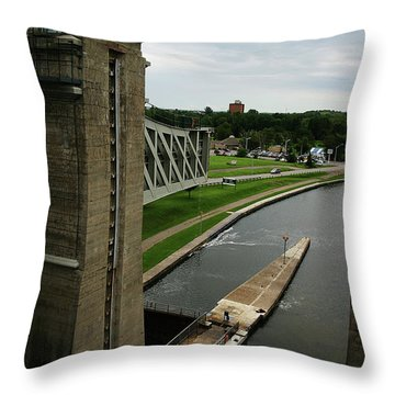 Peterborough Lift Lock Throw Pillow by Alyce Taylor