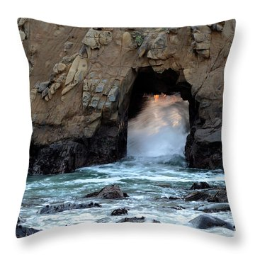 Pfeiffer Rock Big Sur 2 Throw Pillow by Bob Christopher
