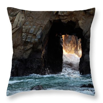Pfeiffer Rock Big Sur Throw Pillow by Bob Christopher
