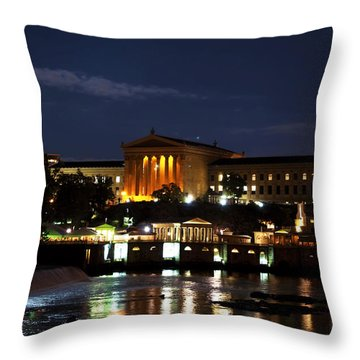 Philadelphia Art Museum And Waterworks All Lit Up Throw Pillow by Bill Cannon