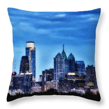 Philadelphia At Night Throw Pillow by Bill Cannon