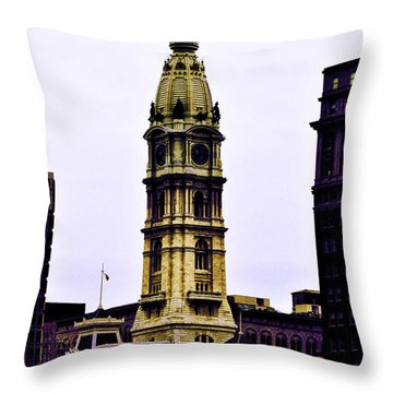 Philadelphia City Hall Tower Throw Pillow by Bill Cannon