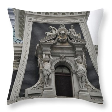 Philadelphia City Hall Window Throw Pillow by Bill Cannon