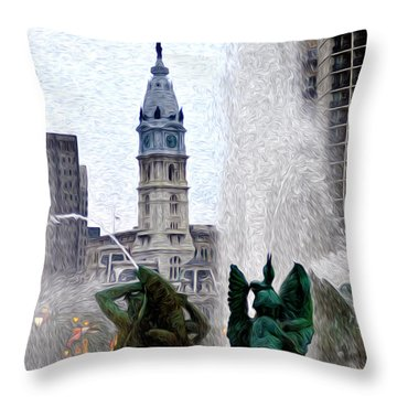 Philadelphia Fountain Throw Pillow by Bill Cannon