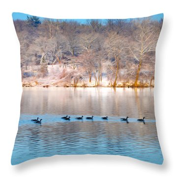 Philadelphia Winter Scene Throw Pillow by Bill Cannon