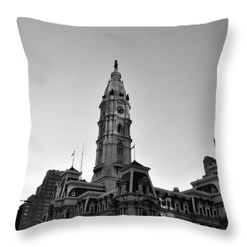 Philadelphias City Hall In Black And White Throw Pillow by Bill Cannon