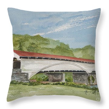 Philippi Covered Bridge  Throw Pillow by Nancy Patterson