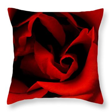 Photograph Of A Red Rose Throw Pillow by Perla Copernik