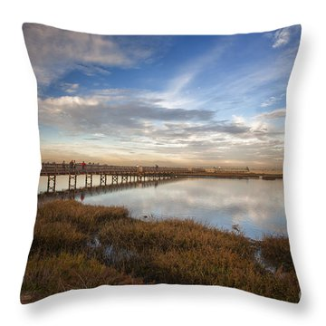 Photographers On Bridge At Sunset Throw Pillow