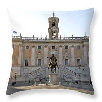 Piazza Del Campidoglio. Capitoline Hill. Rom Throw Pillow by Bernard Jaubert