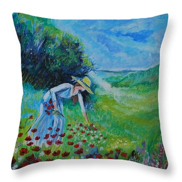 Throw Pillow featuring the painting Picking Flowers by Leslie Allen
