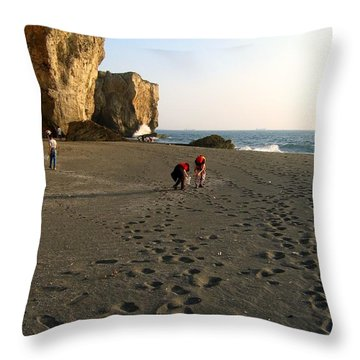 Picking Shells On The Beach Throw Pillow by Yali Shi