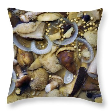 Pickled Mushrooms Throw Pillow by Michal Boubin