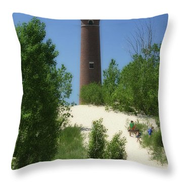 Throw Pillow featuring the photograph Picnic By The Lighthouse by Joan Bertucci