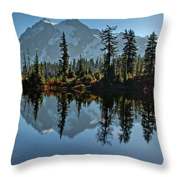 Picture Lake - Heather Meadows Landscape In Autumn Art Prints Throw Pillow by Valerie Garner