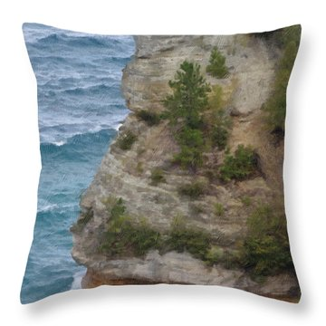Throw Pillow featuring the photograph Pictured Rocks In Oil by Deniece Platt