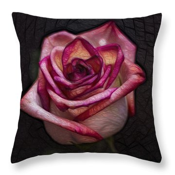 Picturesque Satin Rose Throw Pillow by Linda Tiepelman