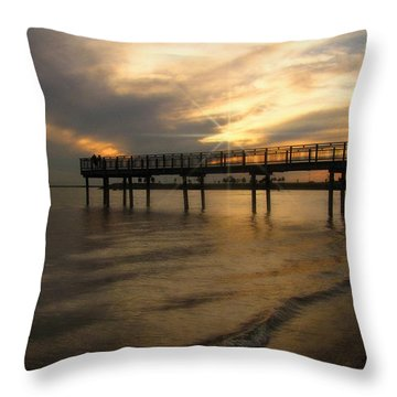 Throw Pillow featuring the photograph Pier  by Cindy Haggerty