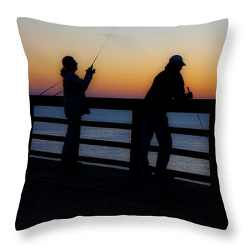 Pier Fishing At Dawn II Throw Pillow by Betsy Knapp