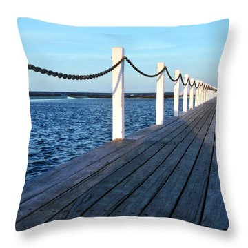 Pier To The Ocean Throw Pillow by Kaye Menner
