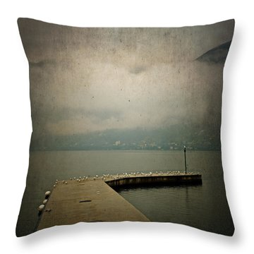 Pier With Seagulls Throw Pillow by Joana Kruse