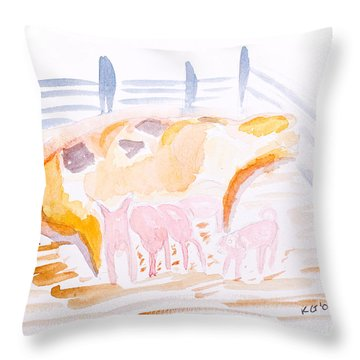 Pig With Piglets  Throw Pillow by Simon Bratt Photography LRPS