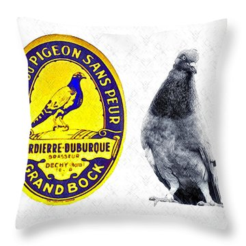 Pigeon Grand Bock Throw Pillow by Bill Cannon