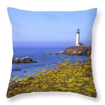 Pigeon Point Lighthouse California Coast Throw Pillow by Mike Nellums