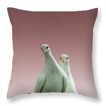 Pigeons In The Pink Throw Pillow by Linsey Williams