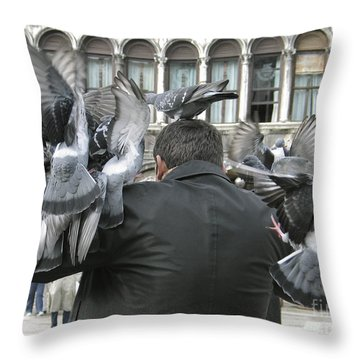 Pigeons. Venice Throw Pillow by Bernard Jaubert