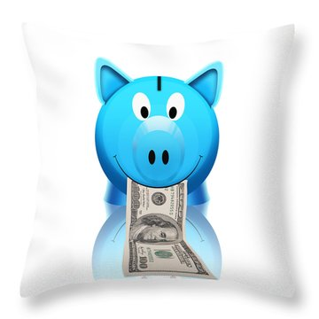 Piggy Bank Throw Pillow by Setsiri Silapasuwanchai
