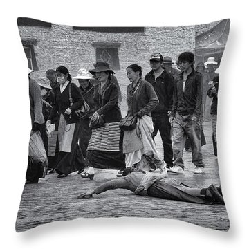 Pilgrim Prostration Throw Pillow by Joan Carroll