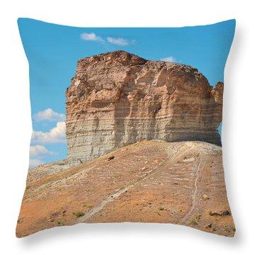 Pilot Butte Rock Formation II Throw Pillow by Donna Greene