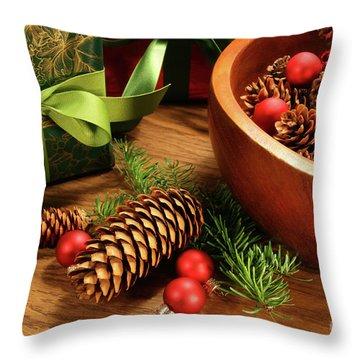 Pine Cones And Christmas Balls  Throw Pillow