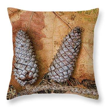 Pine Cones And Leaves Throw Pillow by Deborah Benoit