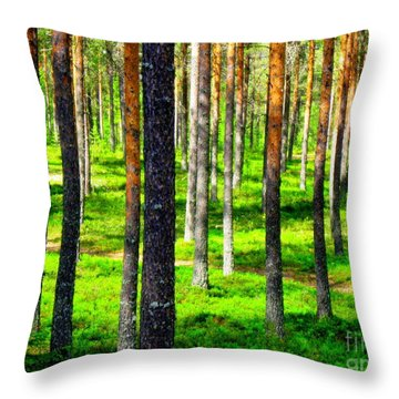 Pine Forest Throw Pillow by Pauli Hyvonen