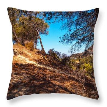 Pine Trees In El Chorro. Spain Throw Pillow by Jenny Rainbow