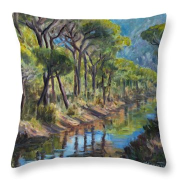 Pine Wood Reflections Throw Pillow by Marco Busoni