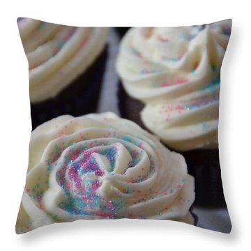 Pink And Blue Sparkles Throw Pillow