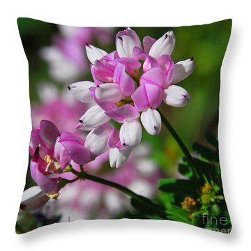 Pink And White Throw Pillow by Cindy Manero
