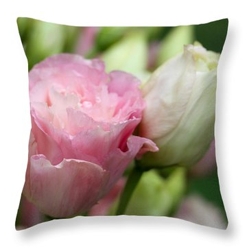 Pink And White Lisianthus Throw Pillow