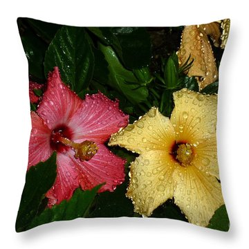Throw Pillow featuring the photograph Pink And Yellow Hibiscus After The Rain by Renee Trenholm