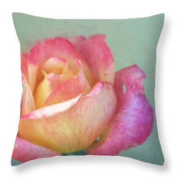 Pink And Yellow Rose On Robin's Egg Blue Throw Pillow