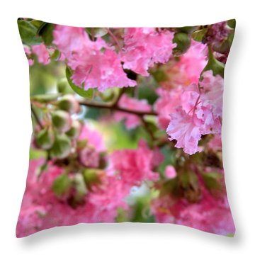 Throw Pillow featuring the photograph Pink Blooms by Nada Meeks