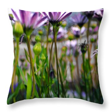 Pink Blossoming Flowers Throw Pillow by Sumit Mehndiratta