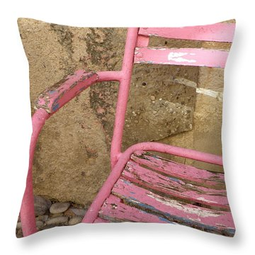 Pink Chair Throw Pillow by Lainie Wrightson