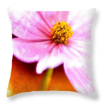 Pink Cosmos On Orange Throw Pillow