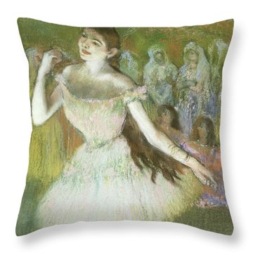 Pink Dancer  Throw Pillow by Edgar Degas