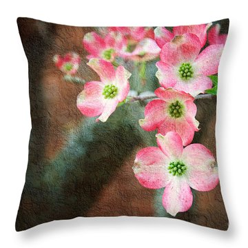 Pink Dogwood Cascade Throw Pillow by Andee Design